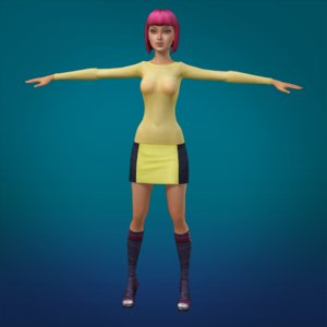 asian girl animation 3d max