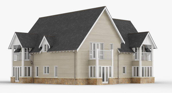 3d colonial british house 1 model