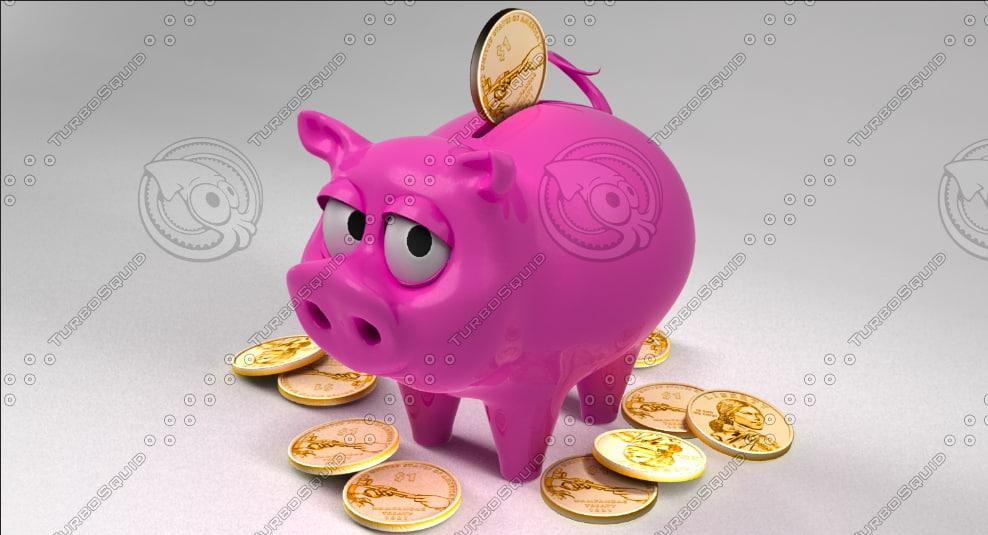 obj piggy bank coin