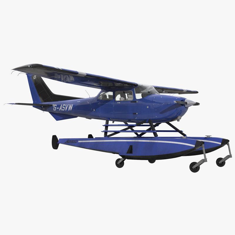 3d model cessna 172 blue seaplane