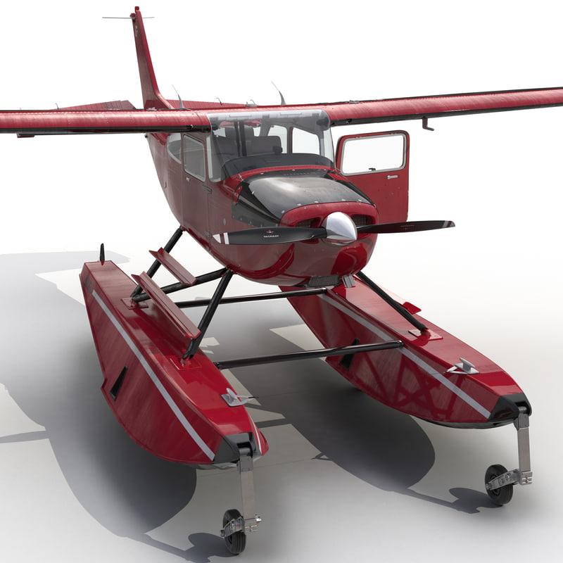 3d model cessna 172 red seaplane