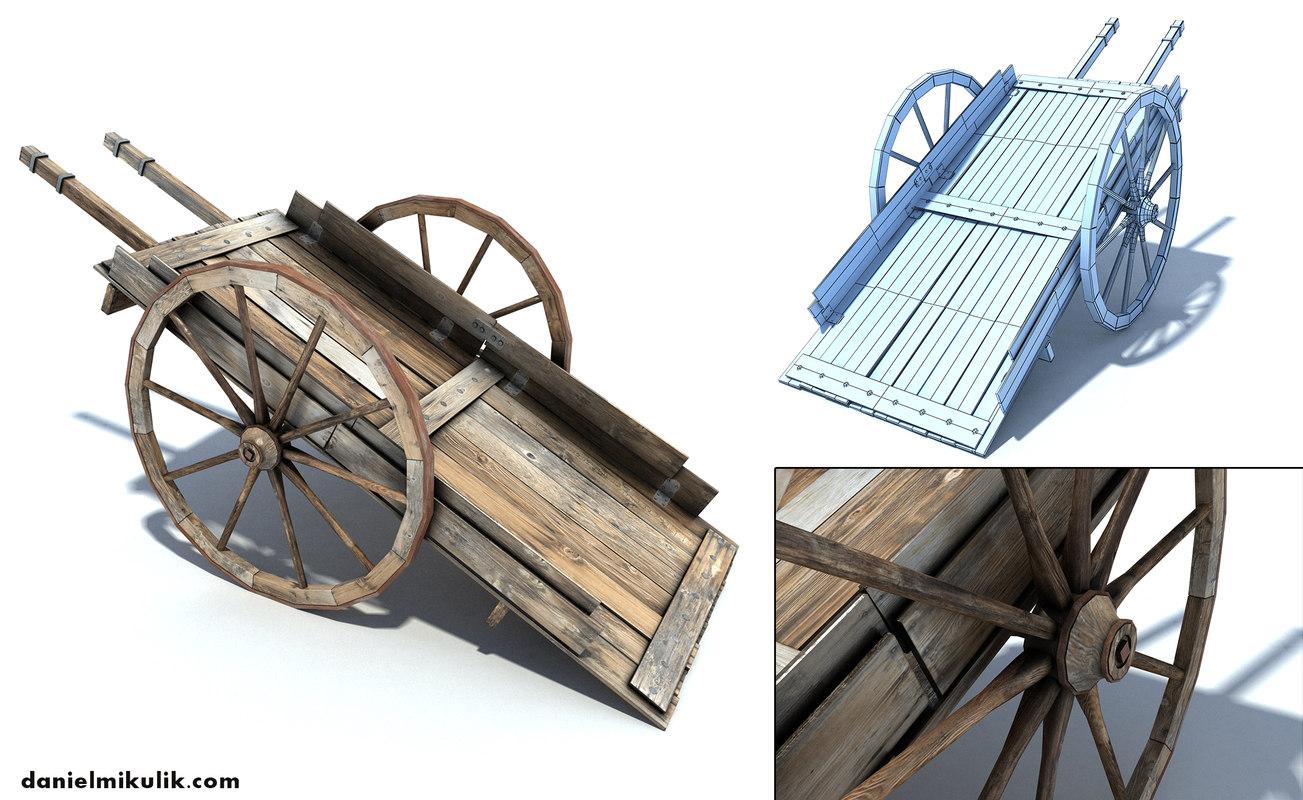 old wild west cart 3d 3ds