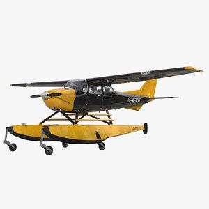 c4d cessna 172 black seaplane