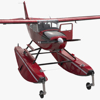 Cessna 172 Red Seaplane Rigged