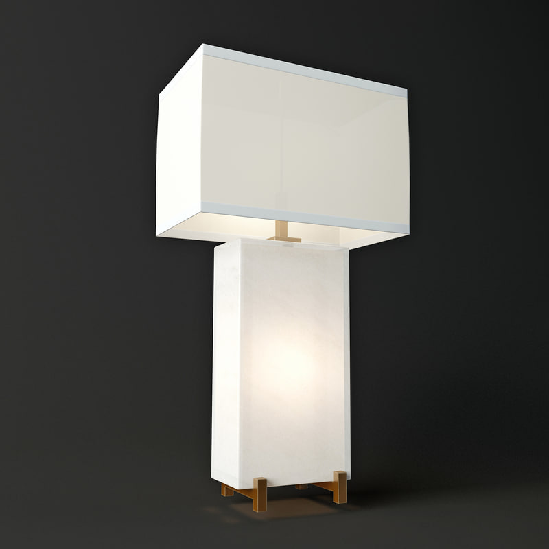 alabaster block table lamp 3d model