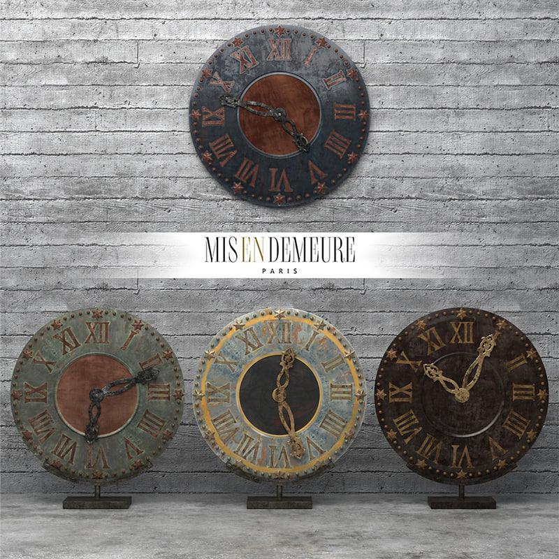 3d model set clock misendemeure village