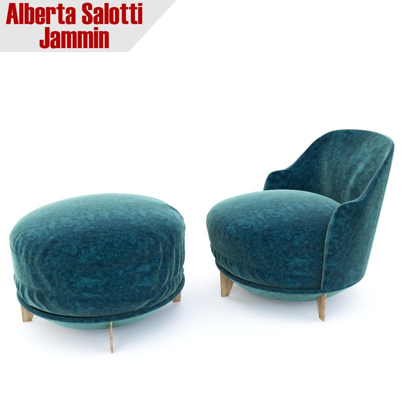chair alberta salotti 3d model