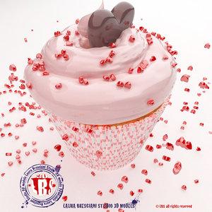 st valentine s cupcake 3d dxf