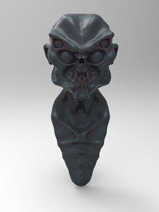 alien head characters 3d model