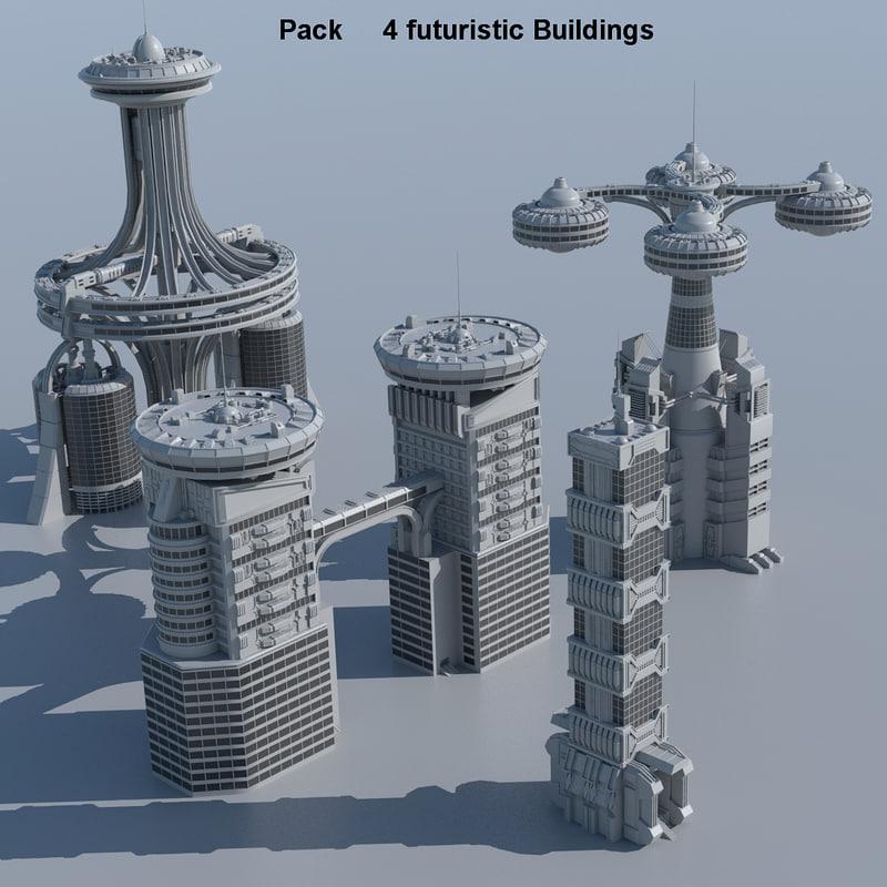 3d model pack 4 futuristic buildings