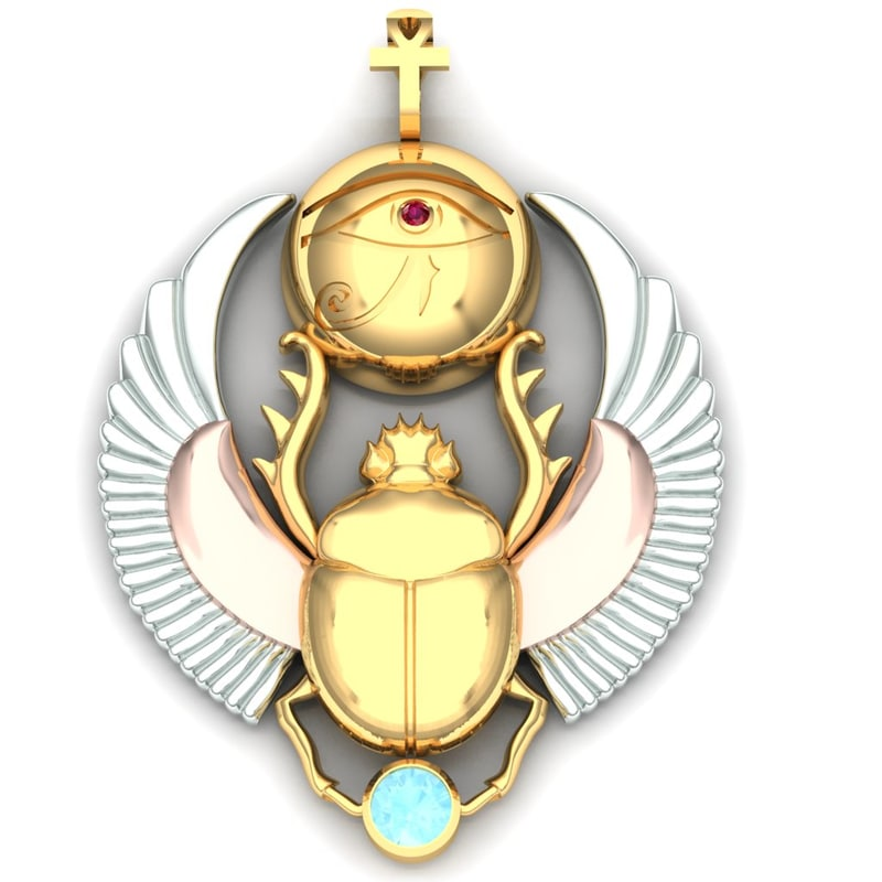 3d beetle scarab pendant