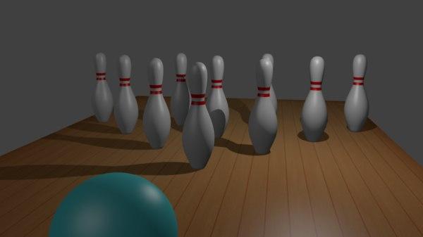 free obj model bowling set ball