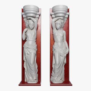 3d model of caryatid sculpture