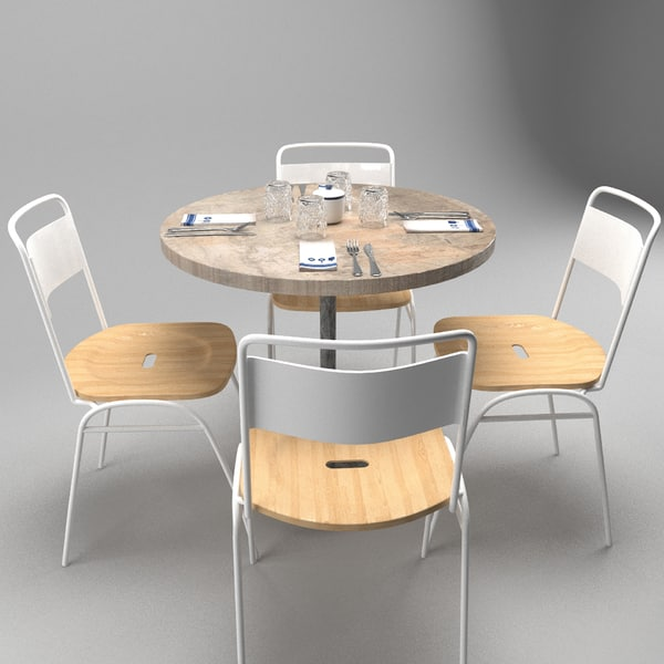 restaurant table chairs 3ds