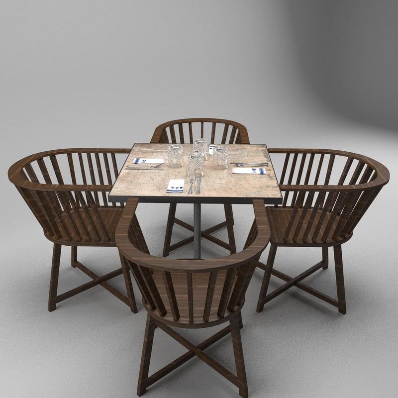 3d restaurant table chairs model