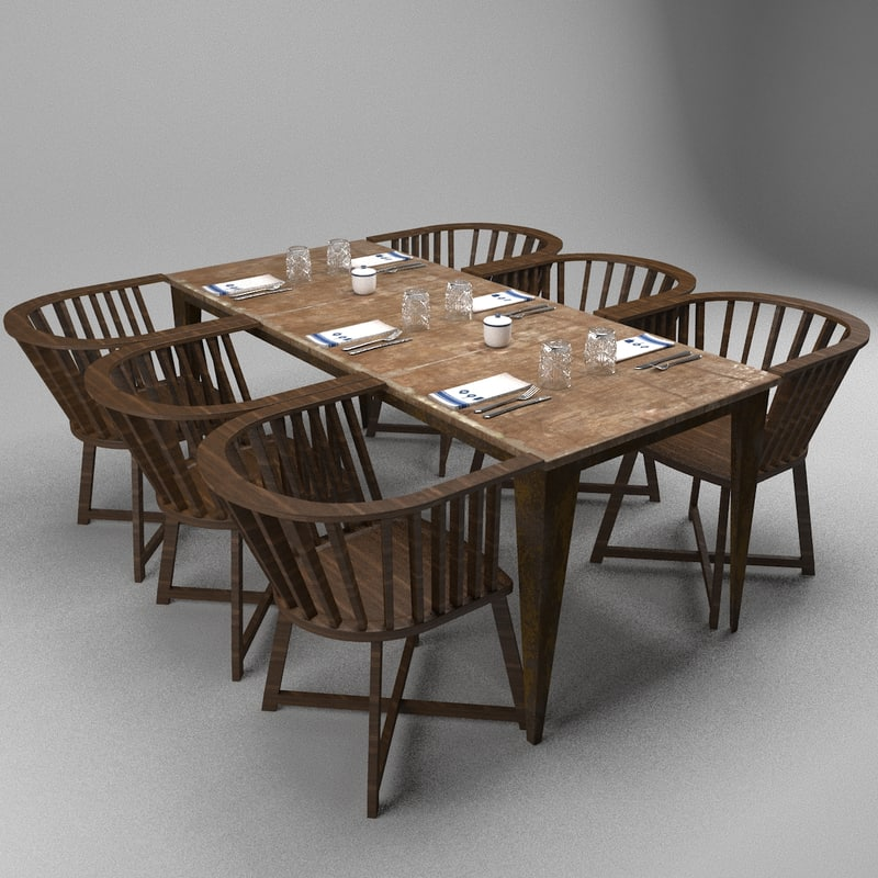 restaurant table chairs 3d max