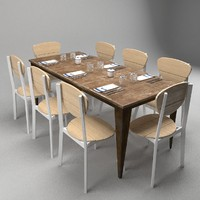 3d model restaurant table chairs