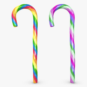 realistic candy cane 04 3d model