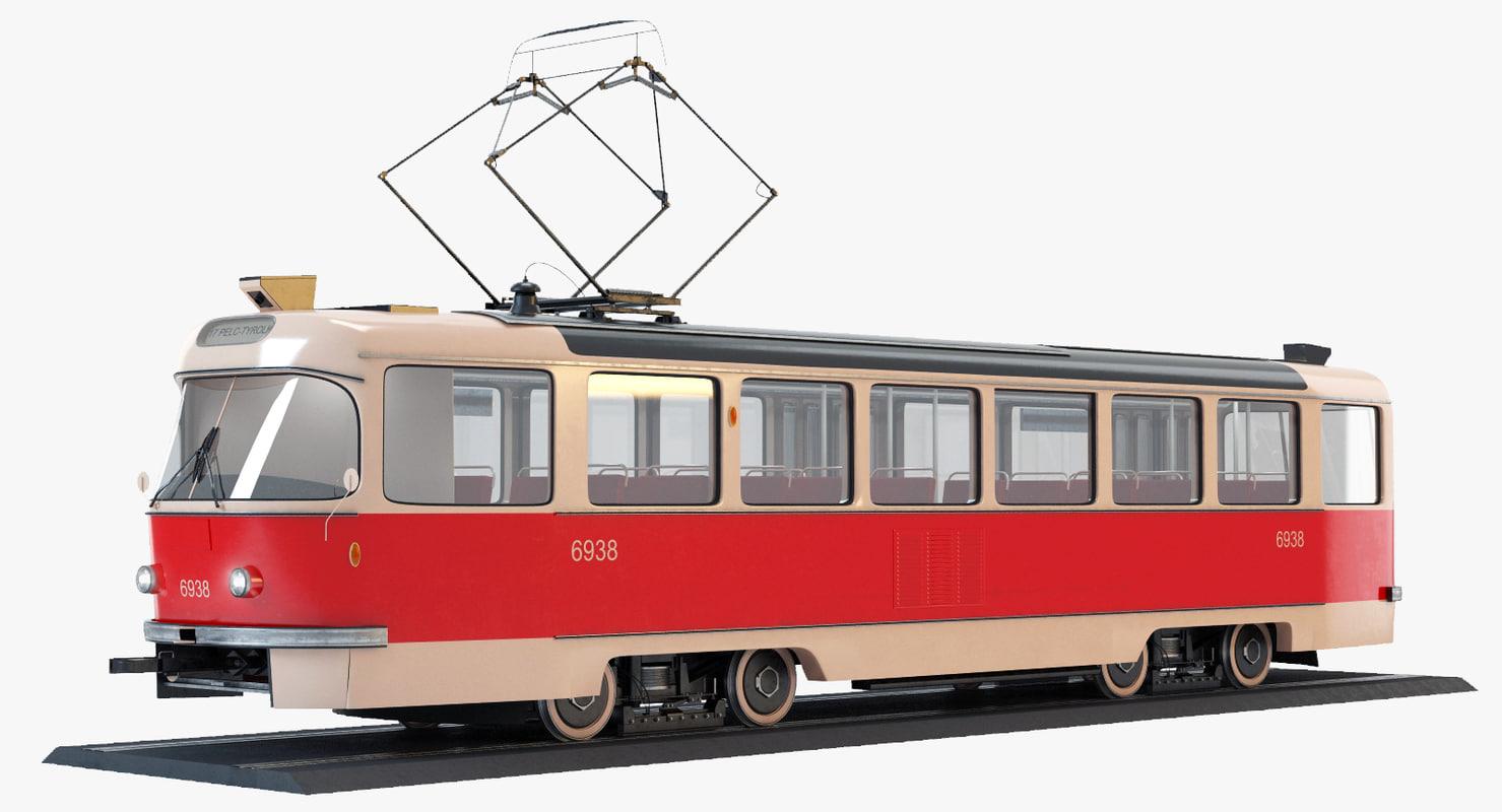 3d obj tatra t3 tram