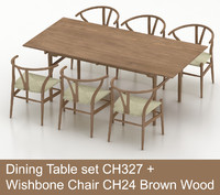 max hardwood dining table wishbone chair