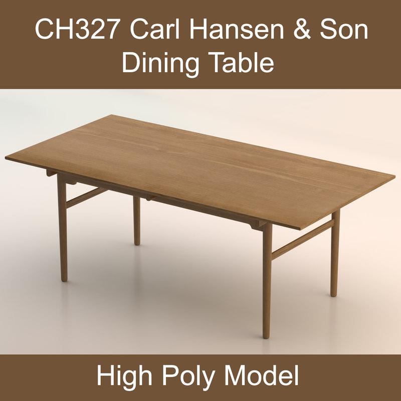 hardwood dining table hans wegner 3d dxf