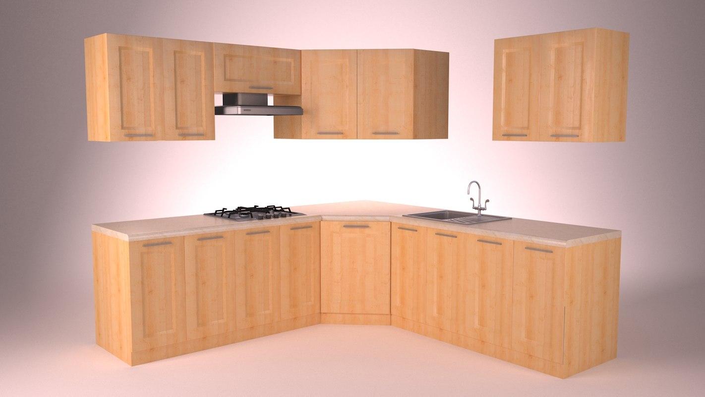 3d model modern kitchen