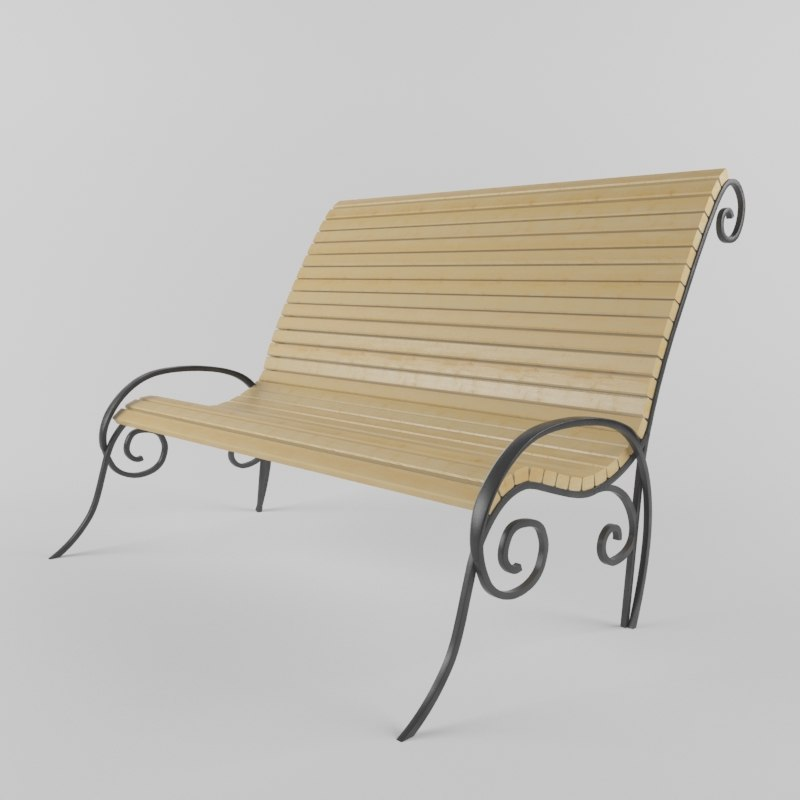 3d model romantic bench park