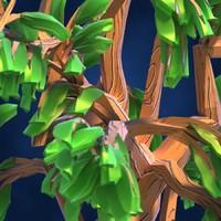 Lowpoly Fantasy Cartoon Game Tree 01