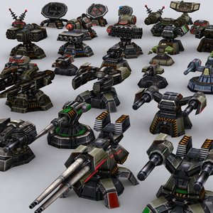 extreme wargear turrets pack 3d model