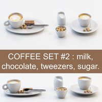 Coffee set #2: cup, chocolate, sugar, milk (high poly models, ready for you coffeetable)