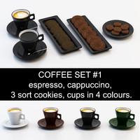 3d model 3 espresso cappuccino cup