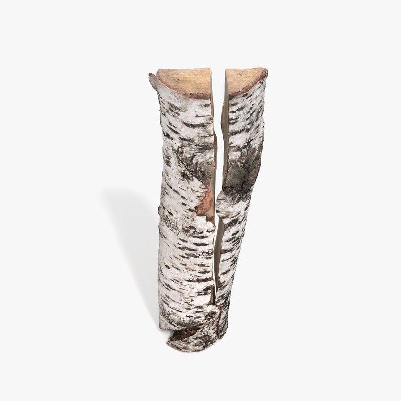 3d modo birch log