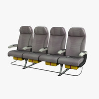 economy airplane seat airbus a380 3d model