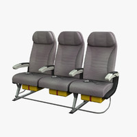 3d model economy airplane seat airbus a380