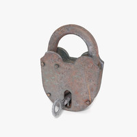 modo padlock key locked 3d model
