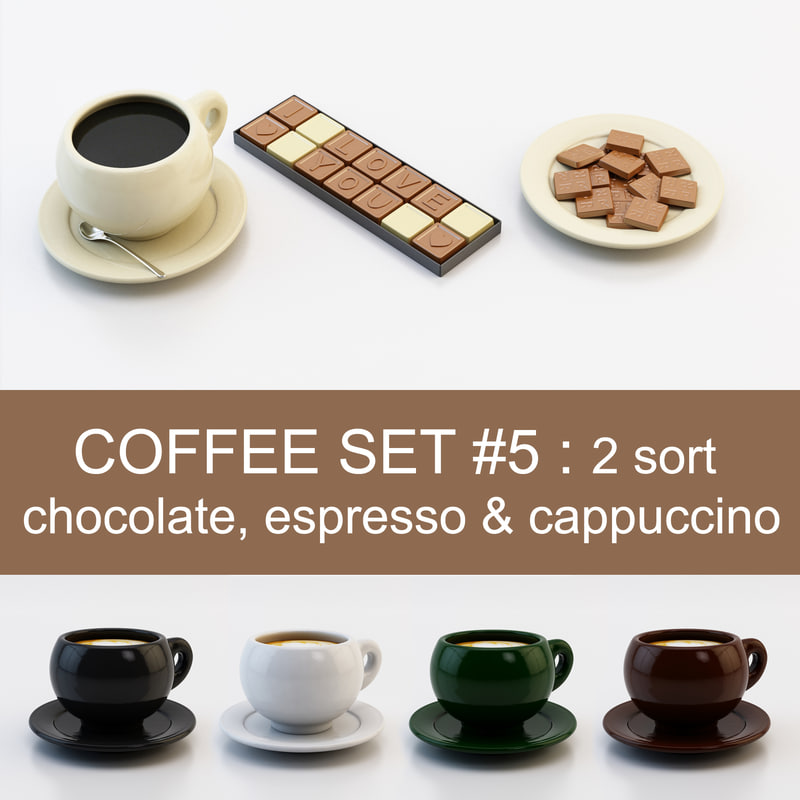 3d coffee set 5: 2