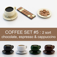 Coffee set #5: 2 sort chocolate, espresso & cappuccino (high poly models, ready for you coffee table)