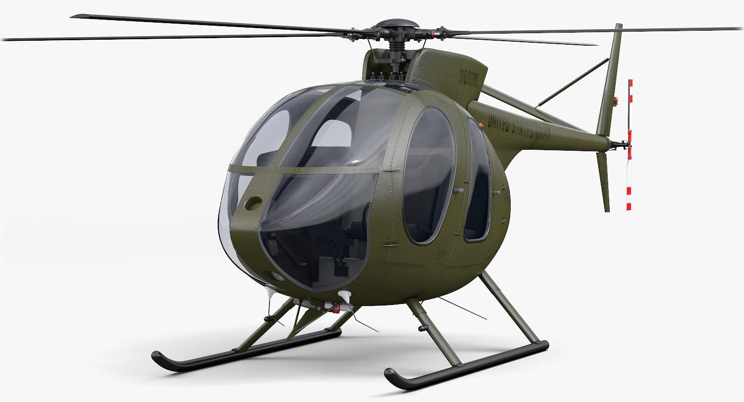 hughes md 500e 3d model