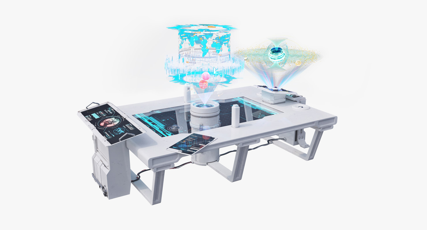 3d table 3 holograms
