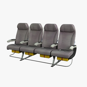 3d economy airplane seat airbus a380 model