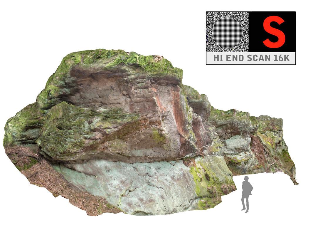 rock cliff wall 16k obj