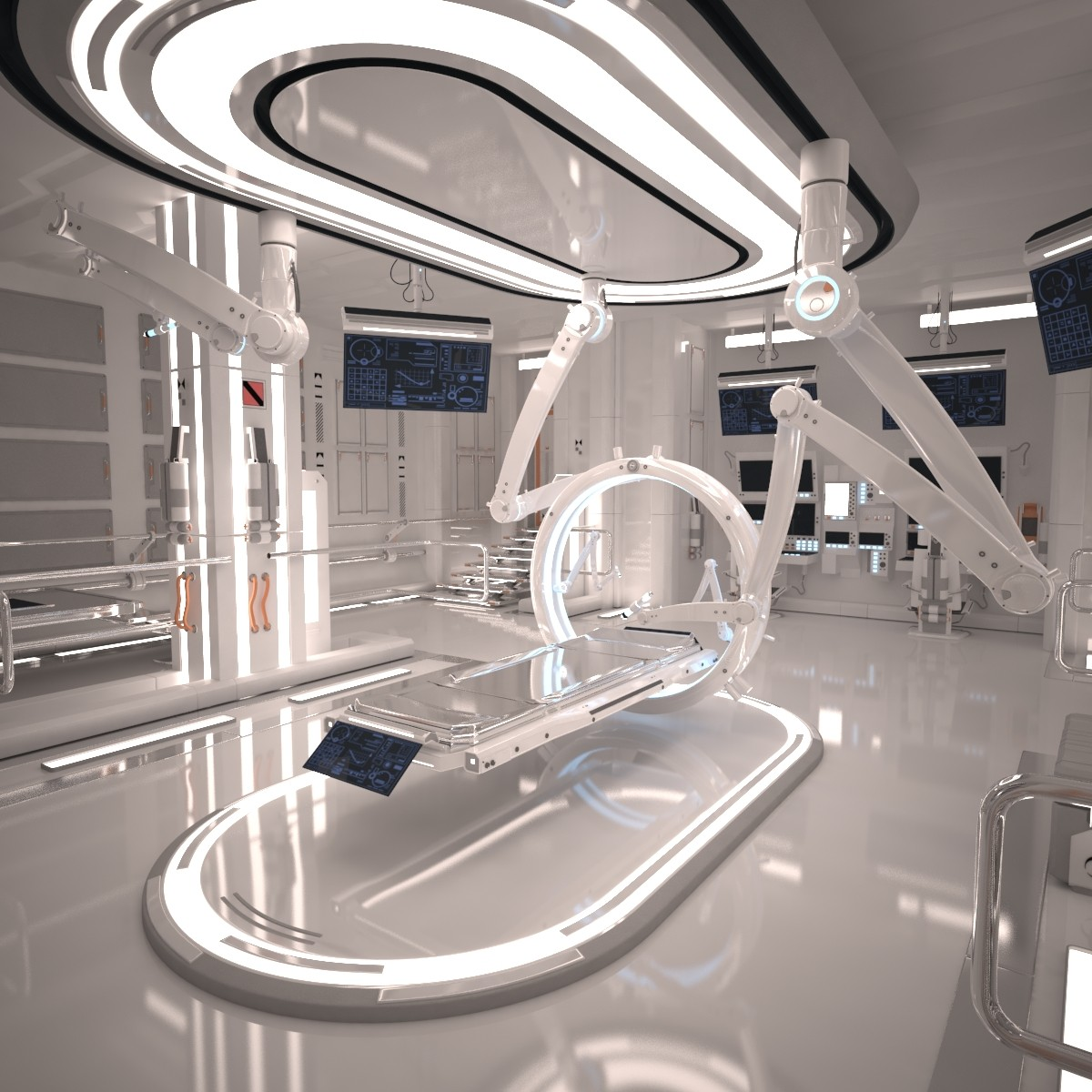 3d futuristic sci fi laboratory for 3d model room design