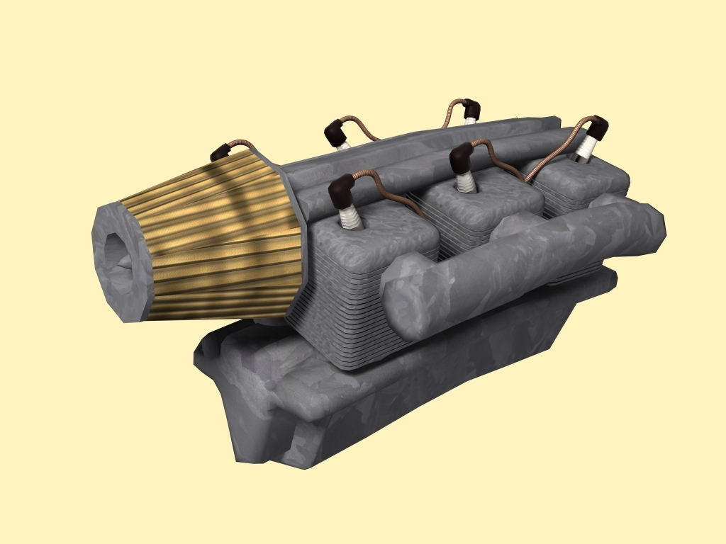 engine old planes 3d model