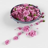 3d model platter flowers