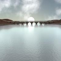arch bridge - 3d blend