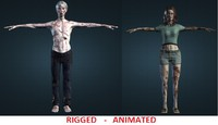 couple zombies 3d model