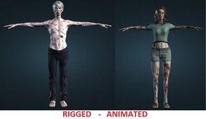couple zombies 3d model