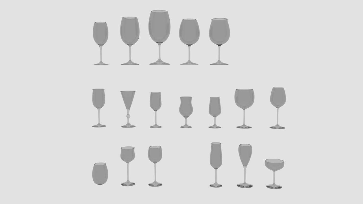3d 18 wine glas model