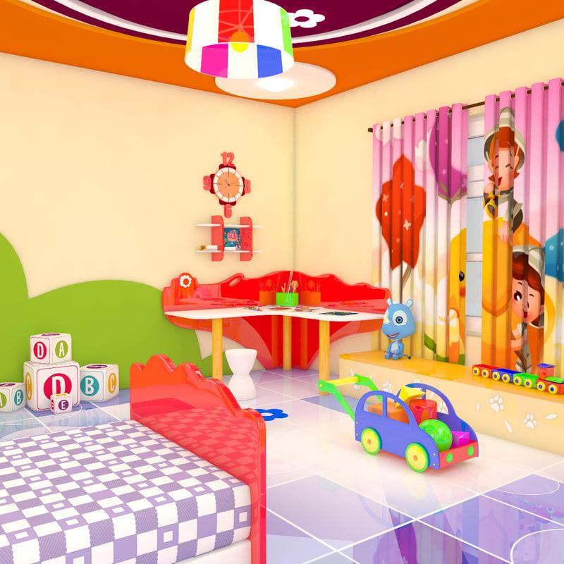 3d model cartoon bed