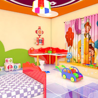 3d model cartoon bed